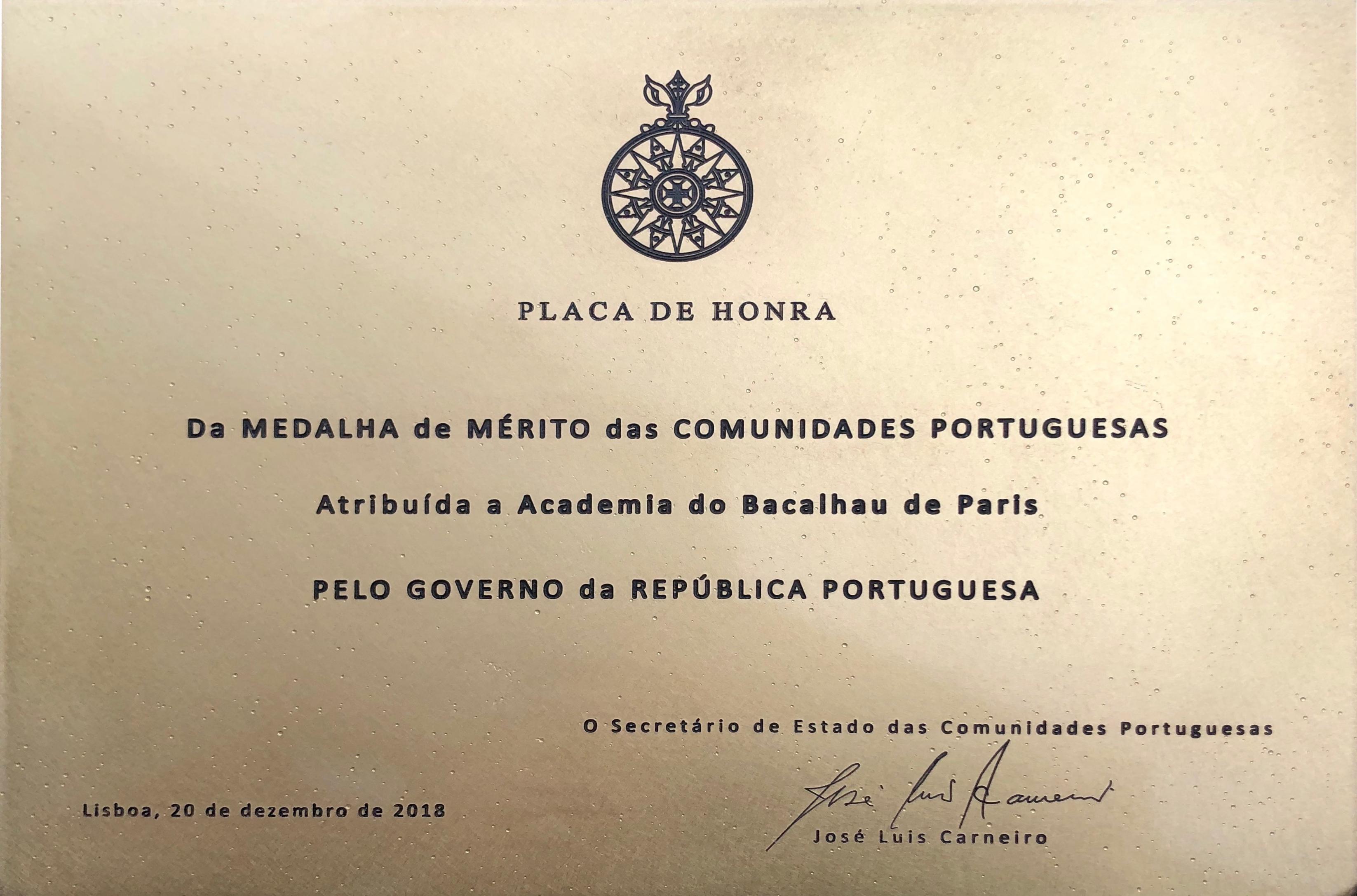 placa de honra de mérito das Comunidades Portuguesas Grau Ouro